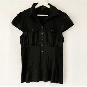 BCBG Black Silk-Like Button Top